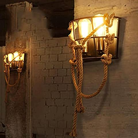 FHK,Wandleuchten Amerikanischen Retro-Seil kreative Persönlichkeit Restaurant Flur Wandlampe Wohnzimmer Dachboden industrielle Wind Nordic Ständerwandleuchte Dekorative Wandleuchten