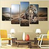 adgkitb canvas 5 Unid HD Imprimir Pintura Bosque León Lienzo Pintura Arte Óleo Imprimir Cartel Niños Habitación Fauna Animal Marco Decoración para El Hogar