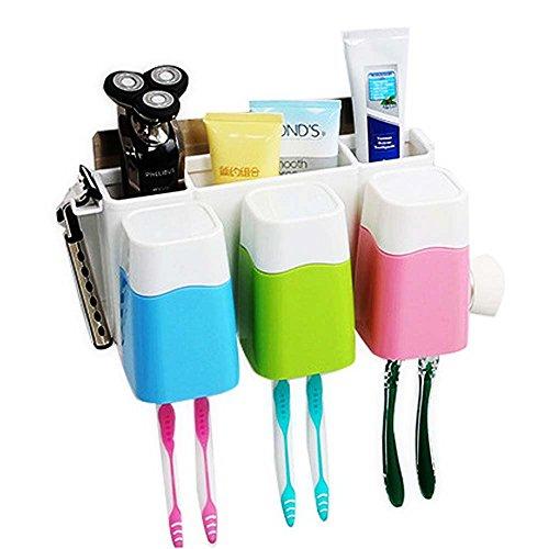 Zahnbürstenhalter Lagerung Organizer Set mit 3Tassen Saugnapf Badezimmer Anti-Staub Wand montiert Zahnbürste Zahnpasta Halter stehen–kein Bohren. Portfolio-lampe Set