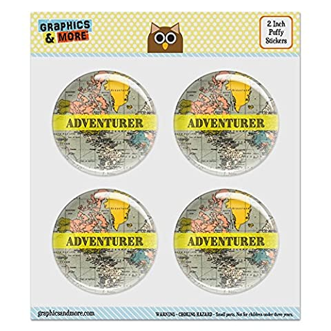 Puffy Bubble Dome Scrapbooking Crafting Stickers - Adventurer Map of the World Traveler - Set of 4 - 2.0