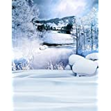 A.Monamour Scenic Winter White Snow Trees With Rimes Hoarfrost Christmas Holiday Mural Party Wall Decorations Vinyl Fabric Photography Backdrops 5x7ft - Quiet Snowy Day