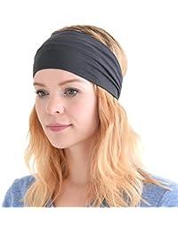Casualbox Womens Japanese Elastic Headband Hair Band Accessory Sport Dark Gray