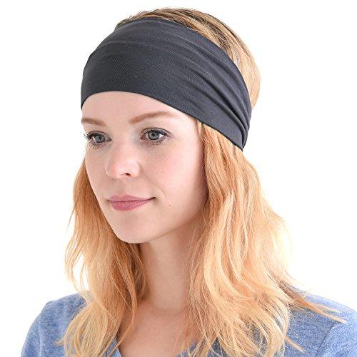 Casualbox Herren Japanisch elastisch Stirnband Headband Haar Band Zubehör Sport Dunkelgrau -
