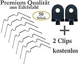 KRONLY 50 Stück Gewächshaus Klammern aus Edelstahl ✔ rostfrei ✔ sturmfest ✔ kompatibel Set für Hohlkammerplatten Doppelstegplatten Gewächshausklammern + 2 Gewächshausclips gratis