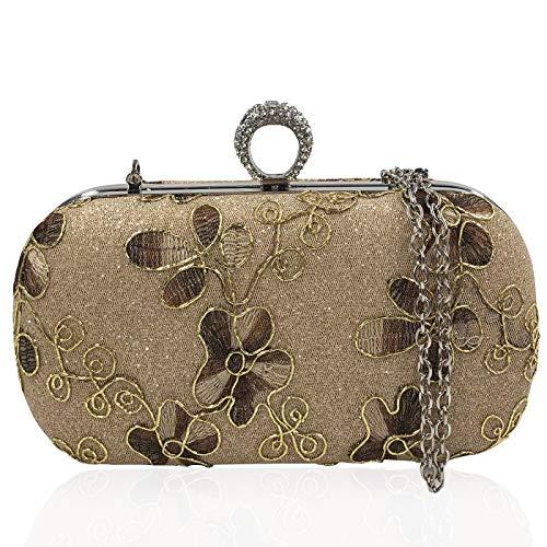 Damen Tasche Stickerei Handtasche Party Clutch Bag Hochzeit Abend Kettentasche Umh?ngetaschen -