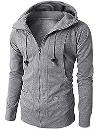 MCYs Mode Mens  Herbst-Winter-Langarm Sport Hoodie Pullover Bluse Tops  Junge Eleganter Mantel mit Kapuze Vlies Verschluß Jacquard… c2f0604d66