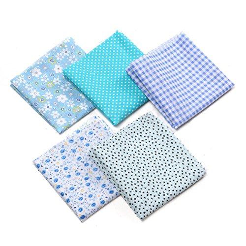 Blau Stoff Baumwolle (5pcs Baumwolltuch Baumwoll Stoff Quilting Patchwork das 50 x 50cm (blau))