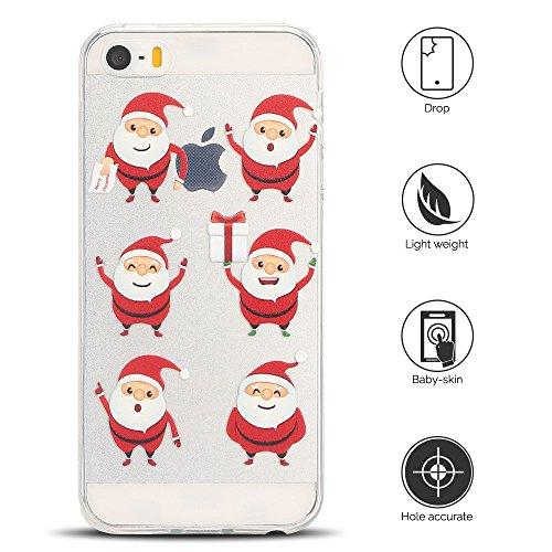 Cover iPhone 5s Custodia iPhone 5 Silicone Natale Anfire Morbido Flessibile TPU Gel Case Cover per Apple iPhone 5/5s/se (4.0 Pollici) Ultra Sottile Clear Trasparente Copertura Antiurto Protettivo Bump 6 Babbo Natale