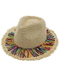 Sombreros trilby Sombrero de jazz Sombrero Cloché Señoras Chica Borla Al aire libre Verano Paja Caqui