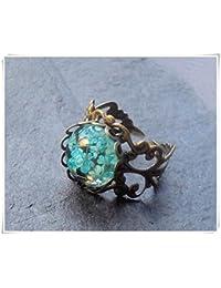 Real flores anillo, anillo de flores en resina, planta,