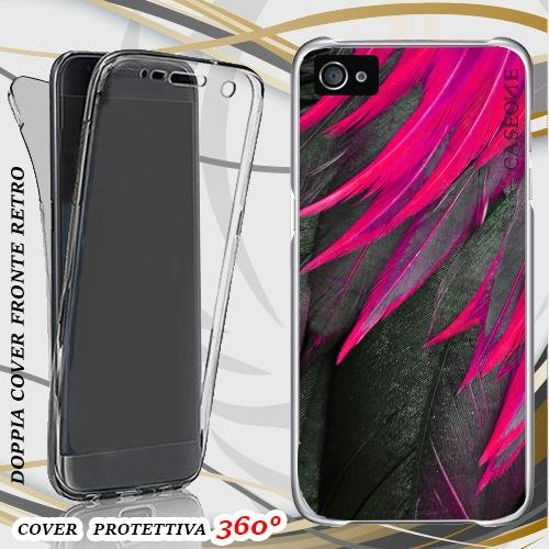 CUSTODIA COVER CASE PIUME VIOLA PER IPHONE 5 FRONT BACK (Case 5 Iphone Viola)