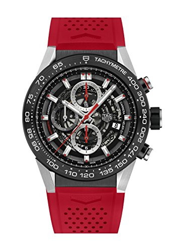 TAG Heuer Men's 45mm Red Rubber Band Steel Case Automatic Watch CAR2A1Z.FT6050