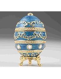 Huevo de Fabergé azul hecho a mano caja decorada con cristales de Swarovski
