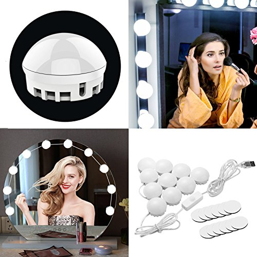 Kosmetikspiegel Lichter, howiseacc Hollywood Style LED Kosmetikspiegel Licht Kit Make-up Spiegel Beleuchtung Leuchtmittel Beleuchtung dimmbar Fassung Strip mit USB Power Port für Schminktisch Set Vanity Spiegel (Style Vanity Set)