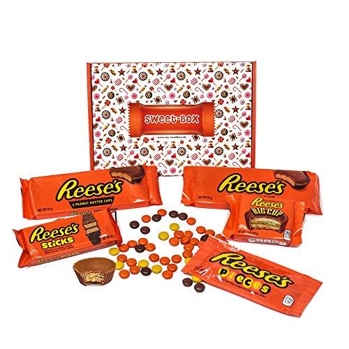 5 Hershey-schokolade Bar (Reese - Sweet-Box - Geschenkkorb | 5 verschiedene amerikanische Süßigkeiten | Peanut Butter Cups in Vollmilch Schokolade | USA Reese Erdnussbutter Cups, Sticks, Pieces, Big Cup)