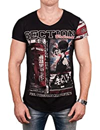 Herren TOP England T-Shirt, Motivdruck Union Jack V-Neck