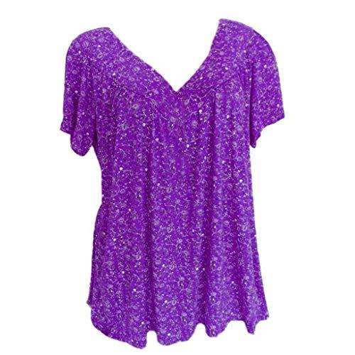 Frauen Blusen/Dorical Damen Große größe Casual Kurzarm Damenmode V-Ausschnitt Print Übergröße Drucken-Lose Tops T-Shirt Bluse Mode Damen T Shirt Kurze Ärmel Shirt ()