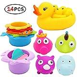 Heall 14 Pcs Baby Badewannenspielzeug mit Schwimmenden Fisch & Entchen Badespaß Zeit für Kleinkind