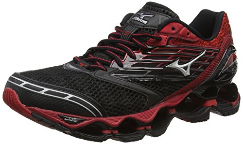Mizuno - Wave Prophecy 5, Scarpe da corsa Uomo, Black (Black/Silver/Chinese Red), 44