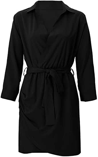 Women Ladies Long Sleeve Stylish Solid Button Duster ...