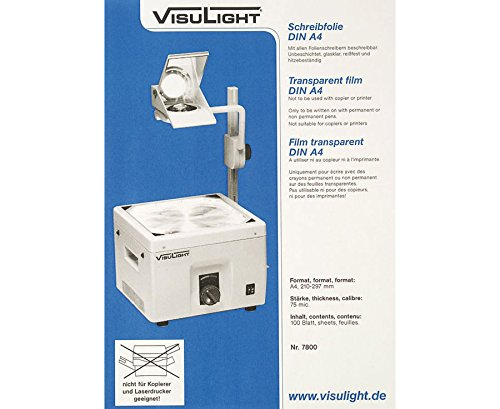 Schreibfolien DIN A4 - Karton mit 100 Stück, 75 mic, Zubehör Overhead-Projektor, Tageslichtprojektor Schule, Lehrmittel