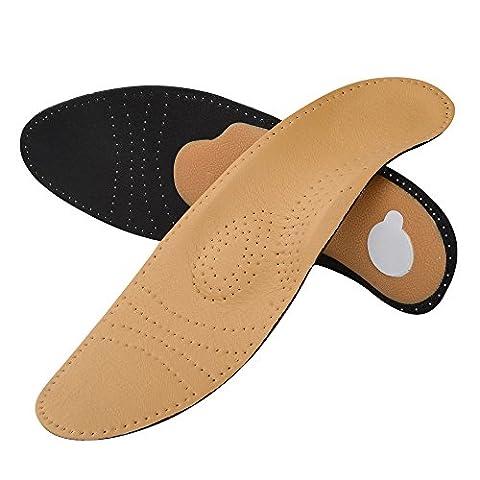 SOUMIT Orthopädische Einlegesohlen   Komfort Leder Fußbett Sohle für Alltag, Beruf, Wandern, Work und Schmerzlinderung (EU35-36, Länge:23CM)