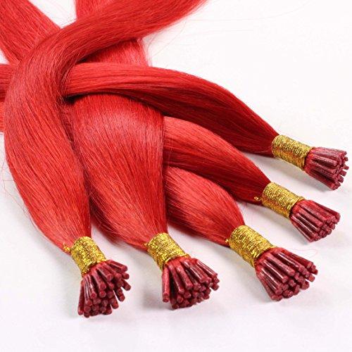 hair2heart 25 x 0.5g Echthaar Microring Stick Extensions, 60cm - glatt - #rot (Haar-stick Indische)