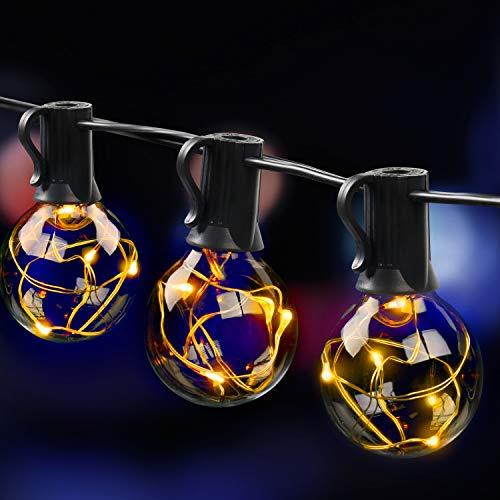 MYCARBON LED Lichterkette außen 12.5M 36er Birnen wasserdicht Lichterkette Outdoor/Indoor Lichterkette Glühbirnen mit stecker Deko für Garten Zimmer Bar Balkon Party 4 Ersatzbirnen Warmweiß