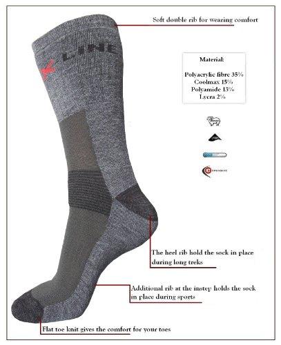 eXPANSIVE étendu de Trekking randonnée X-Line Chaussettes Coolmax Gris Graphite Taille UK 2,5–5 (EUR 35–38)