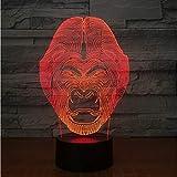 Schimpanse 3D Lampe 7 Farbwechsel Tiere Effekt Orang-Utan Form Lampe Affen Licht LED Nachtlampe mit Touch Schreibtischlampe