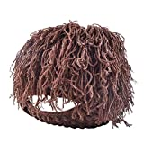 Sguan-wu Hilo de lana creativo Punto Hobo Cavernícola Peluca Barba Hombres Invierno Máscara Sombrero Beanie - Café