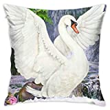YOKJLDH Customized Pillow Case-Beautiful Swan Decorative Cushion Cover Pillow Cover Sofa Seat Car Pillowcase Soft,18x18 Inch