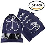 5x Portable Dust-proof Breathable Travel Shoe Organizer Bags Transparent Window for Boots, High Heel Drawstring, Space Saving Storage Bags, M Navy Blue