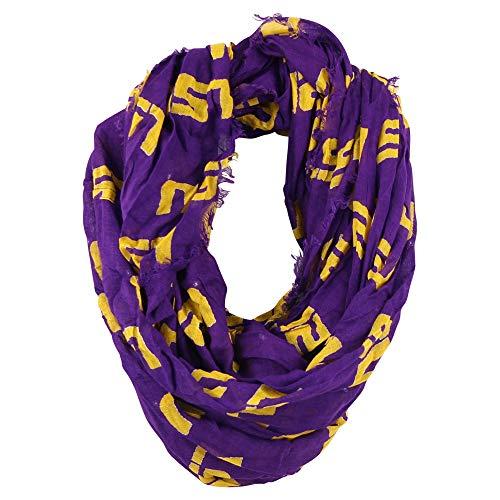 Zoozats Erwachsene NCAA Allover Team Logo Fransen Infinity Schal, Unisex, Louisiana State Tigers, Einheitsgröße State Tigers