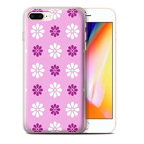 Stuff4 Gel TPU Hülle / Case für Apple iPhone 8 Plus / Blau Muster / Muster mit Blütenblättern Kollektion Rosa