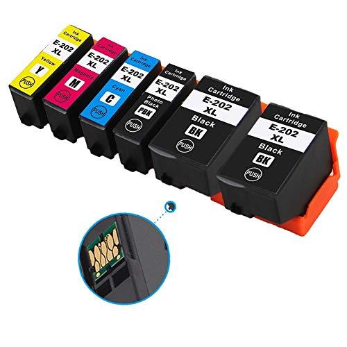 Ouguan Cartucce d'inchiostro Epson 202 XL Compatibile per Epson Expression Premium XP-6000 XP-6005 XP-6100 XP-6105 (XP-6105, 2 Nero,1 Nero Foto,1 Ciano,1 Magenta,1 Giallo)