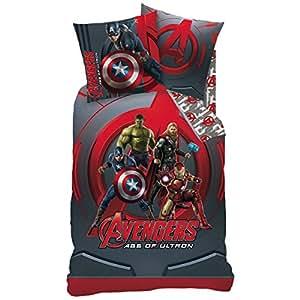 CTI 042613 Housse de Couette Avengers 140 x 200 cm + Taie 63 x 63 cm Coton Gris/Rouge