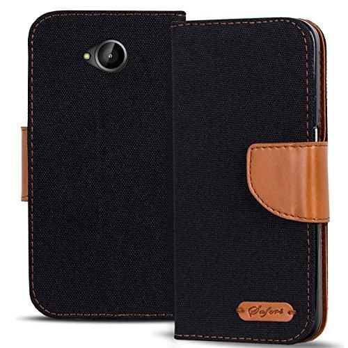 Verco Lumia 640 Hülle, Schutzhülle für Microsoft Lumia 640 Tasche Denim Textil Book Case Flip Case - Klapphülle Schwarz