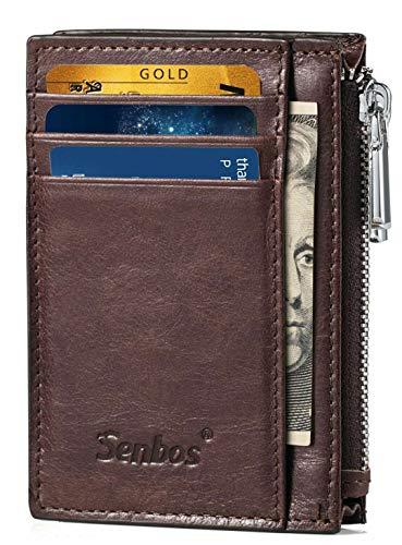 Senbos Geldbörsen für Männer Geldbörsen Herren Leder Slim mit reißverschluss Münzfach Kreditkartensteckplätze & Kartenetuis mit Geschenkbox zum Vatertag - Slim Reißverschluss
