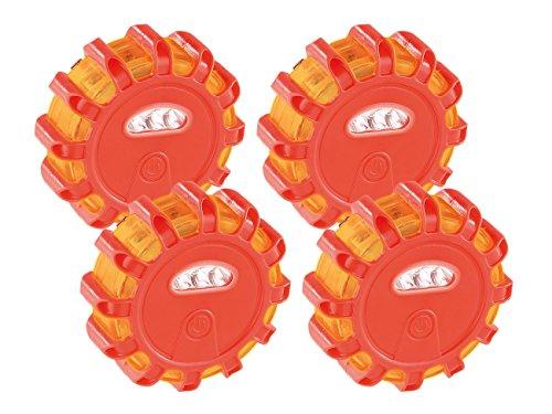 Lescars Warnlicht: Rundum-Warnblinkleuchte mit Roten & Weißen LEDs, 5 Leuchtmodi, 4er-Set (Blinklicht)
