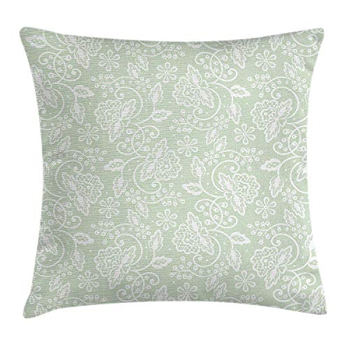 White Almond Bath (ZTLKFL Mint Throw Pillow Cushion Cover, Floral Pattern with Flourishing Blossom Bouquets and Flower Leaf Illustration, Decorative Square Accent Pillow Case, 18 X 18 Inches, Almond Green White)