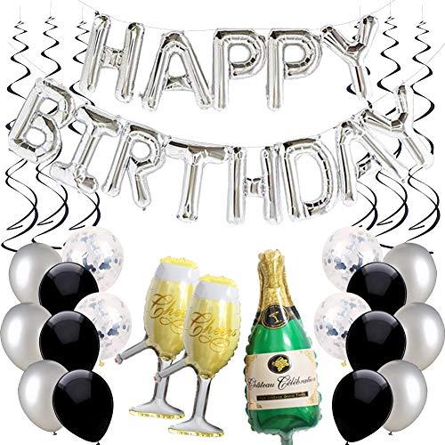 Ohighing Happy Birthday Ballon Silber Schwarz Girlande Geburtstagsdeko Herren Damen Folienballons Silber Konfetti Luftballons Spiralen Geburtstag Deko Set (Ballons Birthday Schwarz Happy)