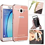 DMG Ultra Luxury Air Aluminum Metal Bumper Detachable + Mirror Hard Back Case for Samsung Galaxy On7 Pro / On7 (Rose) Amazon