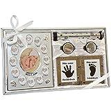 Geschenk zur Geburt und Taufe Junge & Mädchen Geschenkset Geschenkidee für Geburtsurkunde mit Bilderrahmen Fuß-und Handabdruck