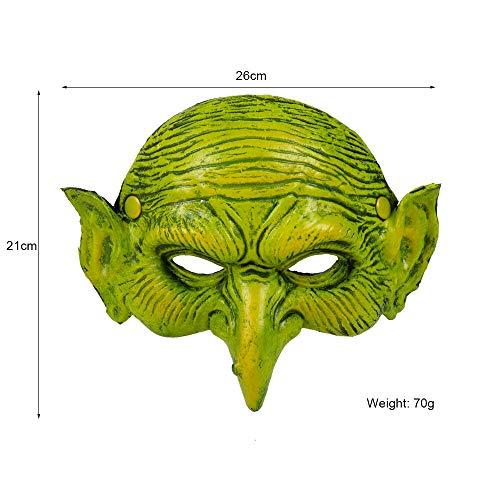 isfraces Karneval Festival Party 3D Weiche Pu-Schaum Hexer Maskerade Crossdresser Green Goblin Mask, grün ()