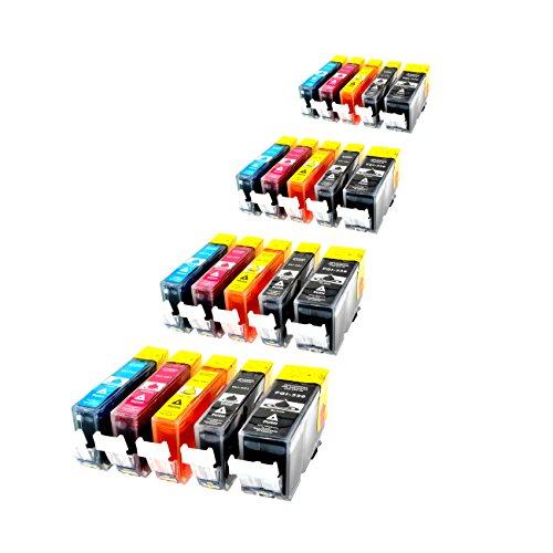 20er Set Druckerpatronen incl. Chips für Canon PIXMA 20ml & farbig 10ml, kompatibel zu PGI-520bk / CLI-521bk / CLI-521c / CLI-521m / CLI-521y (Canon Ip4700 Pixma Farbe)