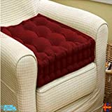 Sf Manchester SFM NEW ADULT CHUNKY BOOSTER CUSHION 100% COTTON CHAIR SEAT PAD FOR SOFA GARDEN Comfortable Home Office Cushions Uk Stock (Maroon)