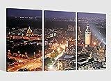 Leinwandbild 3 tlg Skyline Leipzig Stadt alt Bild Bilder Leinwand Leinwandbilder Holz Wandbild mehrteilig Kunstdruck fertig gerahmt 9AB528, 3 tlg BxH:120x80cm (3Stk 40x 80cm)