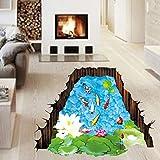 3d estilo peces Lotus Leaves Pond pared hogar papel adhesivo extraíble Living comedor dormitorio Cocina murales arte imagen Niñas Niños Kids Nursery bebé decoración