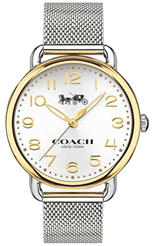 Coach Womens Delancey Stainless Steel Mesh Bracelet Gold Tone Case 14502802